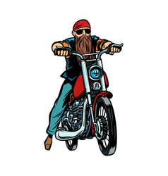 biker bearded man on a motorcycle isolate on white vector image