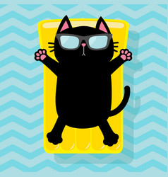 Black cat floating on yellow air pool water vector