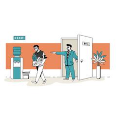 boss fires employee workman dismissal scene vector image