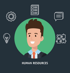 Businessman with human resources set icons vector
