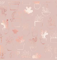 cacti rose gold elegant pattern vector image