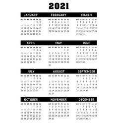 Calendar for 2021 year week starts monday vector