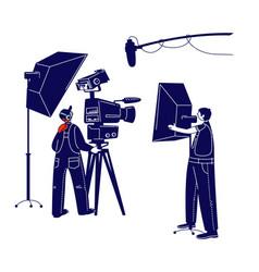 Cameraman character looking through movie camera vector