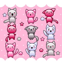 Card with cute kawaii doodle cats vector image