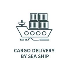 cargo delivery sea ship line icon vector image