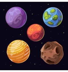 Cartoon alien planets moons asteroid on space vector image