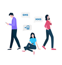 Cellular communication sms and mms services vector