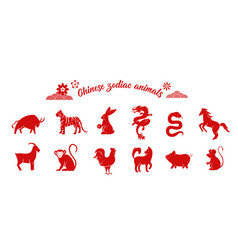 Chinese zodiac animal collection twelve asian new vector