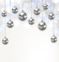 Christmas Silver Glassy Balls on Magic Light vector image