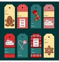 Christmas tags Funny Christmas label set vector image