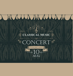 Classical music poster with black stage curtains vector