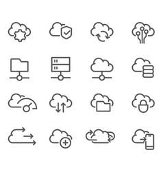 cloud computing line icons set - data sync vector image
