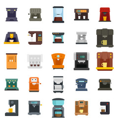 Coffee machine icons set flat isolated vector
