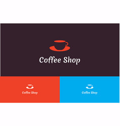 coffee shop with cup logo vector image