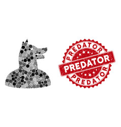 Collage man dog with textured predator seal vector