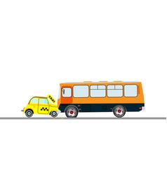 Collision a taxi car and bus vector