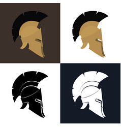 color and silhouette antiques helmet vector image