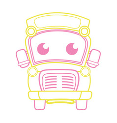 Color line cute and tender school bus kawaii vector