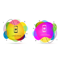 color shopping basket on screen smartphone icon vector image