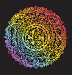 colorful rainbow ethnic mandala on black vector image