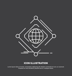 Complex global internet net web icon line symbol vector