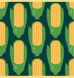 corn ears seamless pattern in flat style vector image