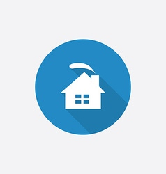 Cozy home flat blue simple icon with long shadow vector