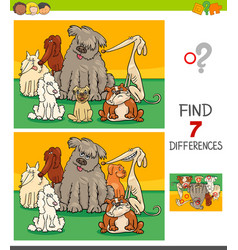 Differences game with pedigree dogs vector