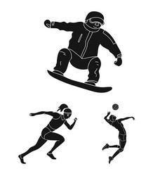 Different kinds of sports black icons in set vector