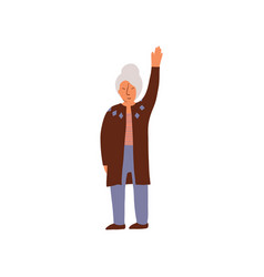 Elderly woman standing and holding up her hand vector
