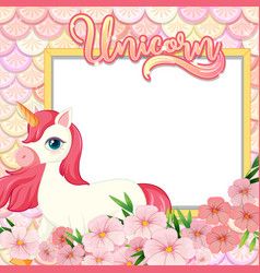 empty banner with cute unicorn cartoon character vector image