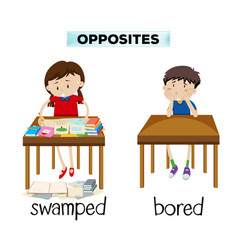 English opposite word of swamped and borded vector