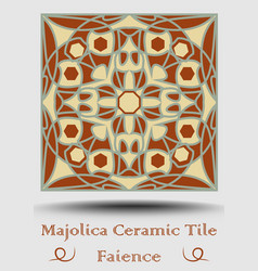 Faience tile decorative ceramic tile in beige vector