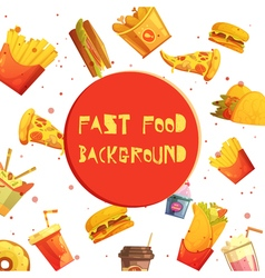Fast Food Decorative Background Retro Cartoon vector image