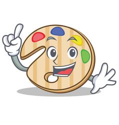 Finger paint palette character cartoon vector