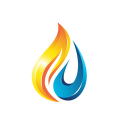 Flame water drop 3d logo vector