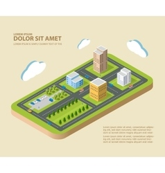 Flat isometric city vector