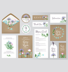 floral invitation cards beautiful wedding love vector image