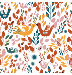 folk orange green yellow and red leaves and birds vector image