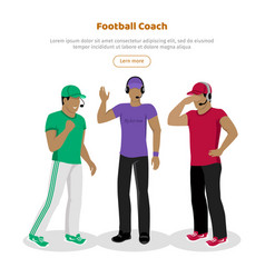 Football coaches web banner cartoon soccer referee vector