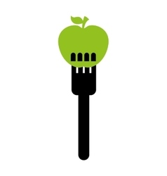 fork with apple fruit isolated icon design vector image