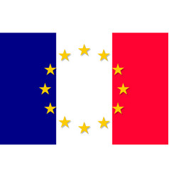 France national flag with a star circle of eu vector