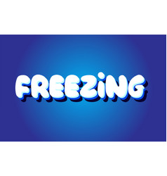 freezing text 3d blue white concept design logo vector image