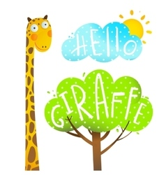 Fun Cartoon African Giraffe Animal with lettering vector image