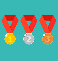 Gold silver bronze medal with red ribbon 1st vector