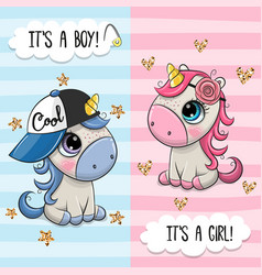 Greeting card with cute unicorns boy and girl vector
