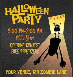 Halloween party poster with little monster vector