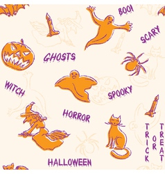 Halloween silhouettes pattern with text vector image