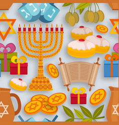 Hanukkah seamless pattern with torah menorah and vector
