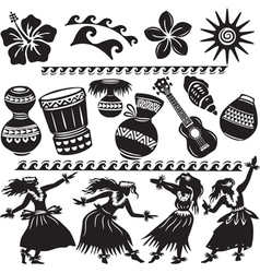 Hawaiian Set with dancers and musical instruments vector